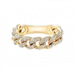 14K Yellow Gold Pave Diamond Link Ring