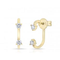 14k Yellow Gold Diamond Front & Back Earring