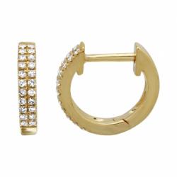 14k Double Row Diamond Huggie Earring