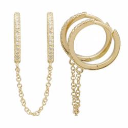 14K Double Diamond Chain Huggie Earring
