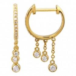 14k Yellow Gold Diamond Huggie w Drops Earring