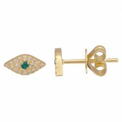 14k Yellow Gold Diamond Emerald Evil Eye Stud (single)