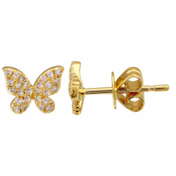 14 Yellow Gold Diamond Butterfly Studs