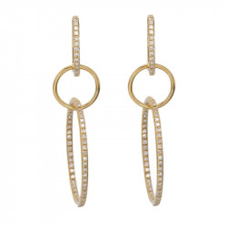 14k Yellow Gold Diamond Link Earrings