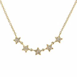 14k Yellow Gold Diamond Stars Necklace