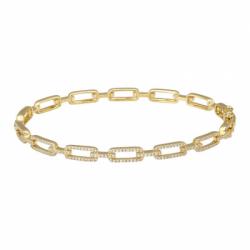14k Yellow Gold Diamond Link Bangle