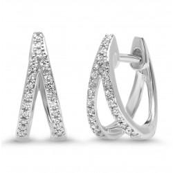 14k White Gold Diamond Huggie Earring