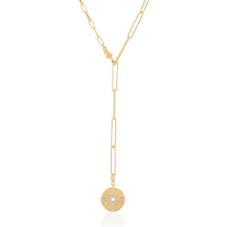 18k Yellow Gold Plated Medallion Lariat Necklace