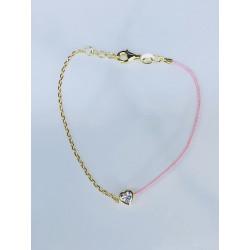 Sterling Silver Gold Plated Heart Cz Bracelet