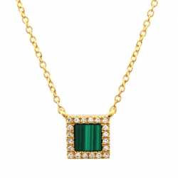 14k Yellow Gold Diamond Malachite Square Necklace