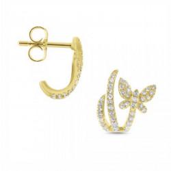 14k Yellow Gold Diamond Butterfly Earring