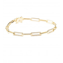 14k Yellow Gold Diamond Link Bracelet