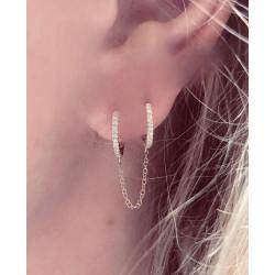 14k Double Diamond Huggie Earring