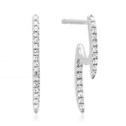 14K Front & Back White Gold Diamond Stick Earrings
