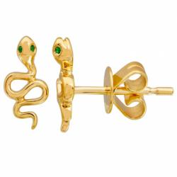 14k Yellow Gold Snake Studs w Green eyes