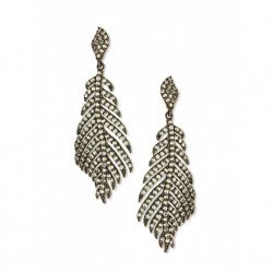 Feather Crsystal Oxidized Drop Earring