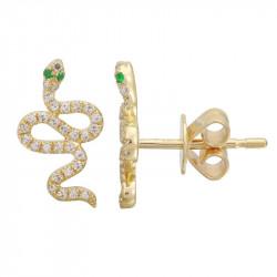 14k Yellow Gold Diamond Snake earring w Emerald Eyes