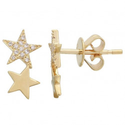 14k Yellow Gold Diamond Star Earrings