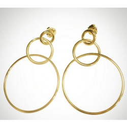 14k Yellow gold Plated Circle Link Earring