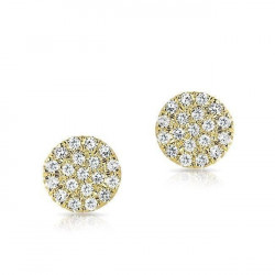 14k Diamond Pave Disc Studs