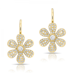 14k Yellow Gold Diamond Pave Flower Earrings on Leverback