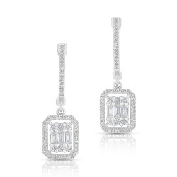 14k White Gold Diamond Baquette Drop Earring