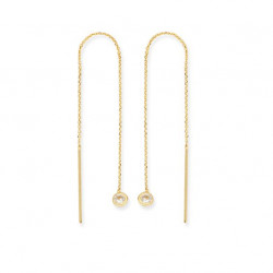 14k Yellow Gold CZ Drop Threader Earrings