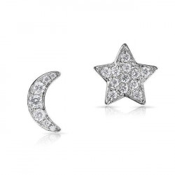 14k White Gold Diamond Moon & Star Suds