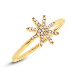 14K Yellow Gold Pave Diamond Starburst Ring