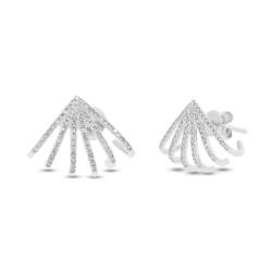 14k White Gold Diamond Pave Huggie Earrings