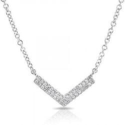 14k White Gold Diamond Mini Chevron Necklace