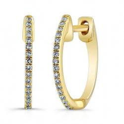 14k Yellow Gold Diamond Huggie Earring