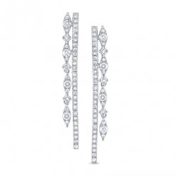 14k White Gold Diamond Drop Earring