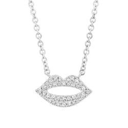 14k White gold Diamond Pave Lips Necklace