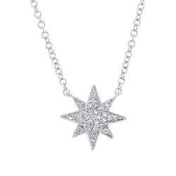 14 K White Gold Pave Diamond Star Necklace