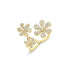 14k Yellow Gold Diamond Pave Triple Flower Ring