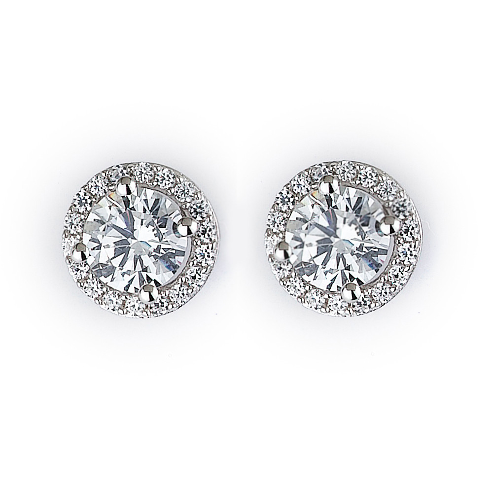 Cz Halo Stud Earrings In Rhodium Plated Sterling Silver