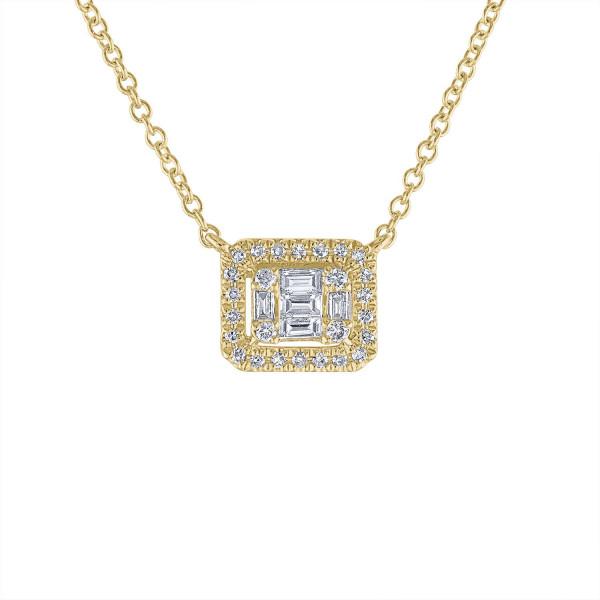 14k Yellow Gold Diamond Baquette Necklace