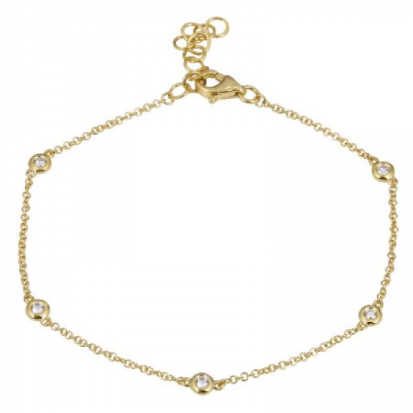 14k Yellow Gold Diamond by the yard Bracelet