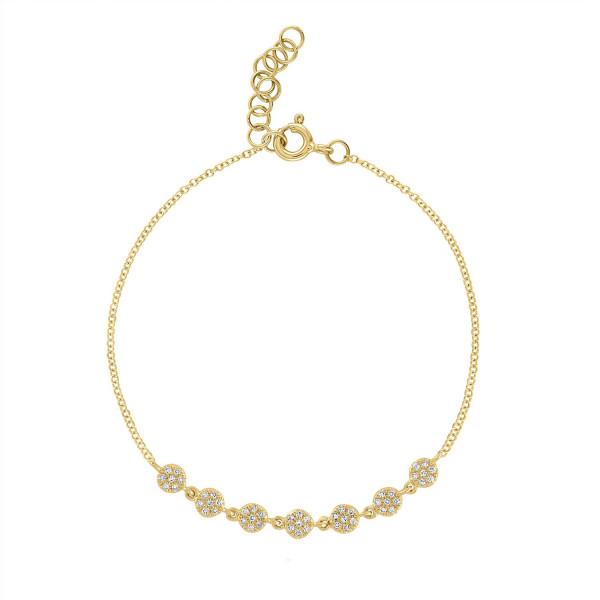 14k Yellow Gold Circle Diamond Pave Bracelet