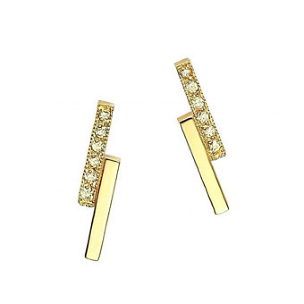 14k Yellow Gold Diamond Bar Earrings