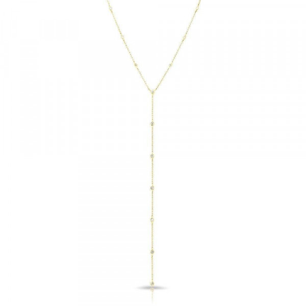 14k Yellow Gold Diamond By The Yard Lariat Necklace