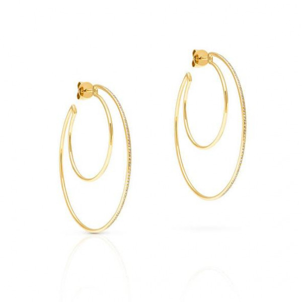 14kt Yellow Gold Diamond Double Hoops