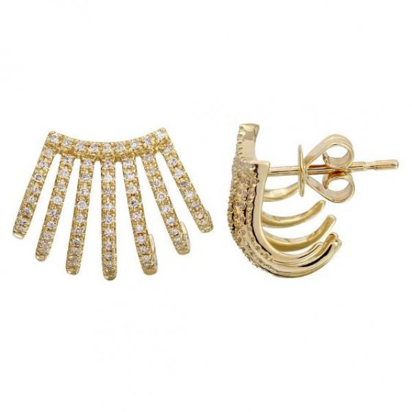 14k Yellow Gold Fashion Diamond Huggie