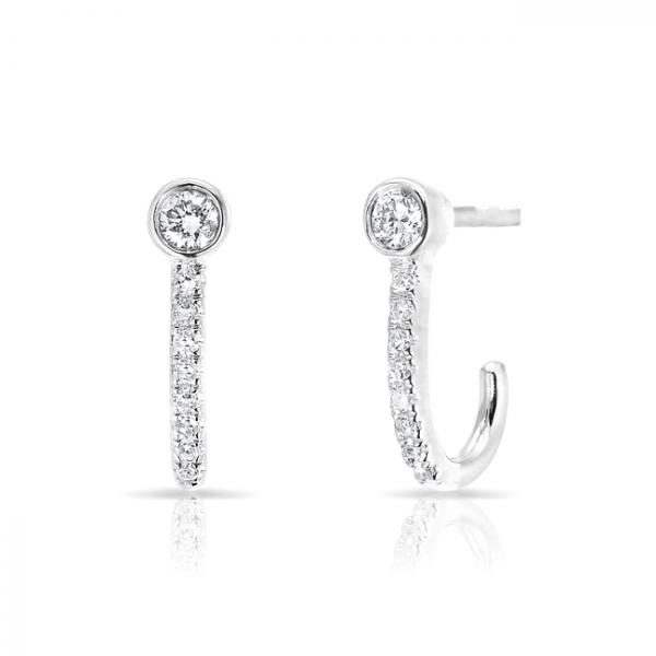14k Diamond Huggie w Stud Earring