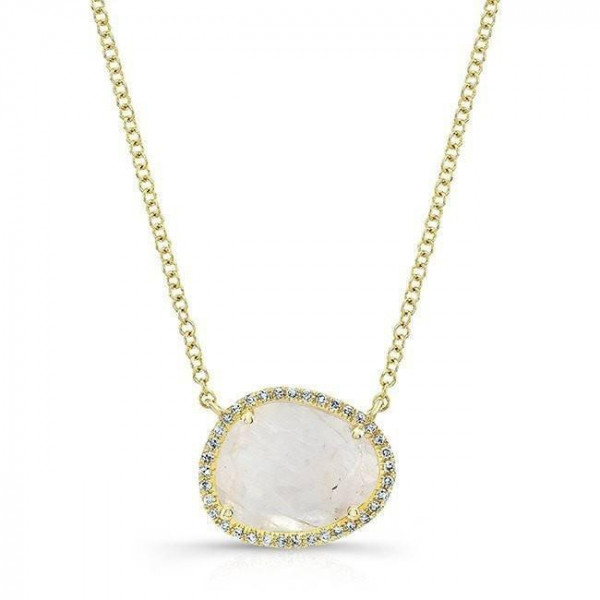 14k Yellow Gold Diamond Moonstone Necklace
