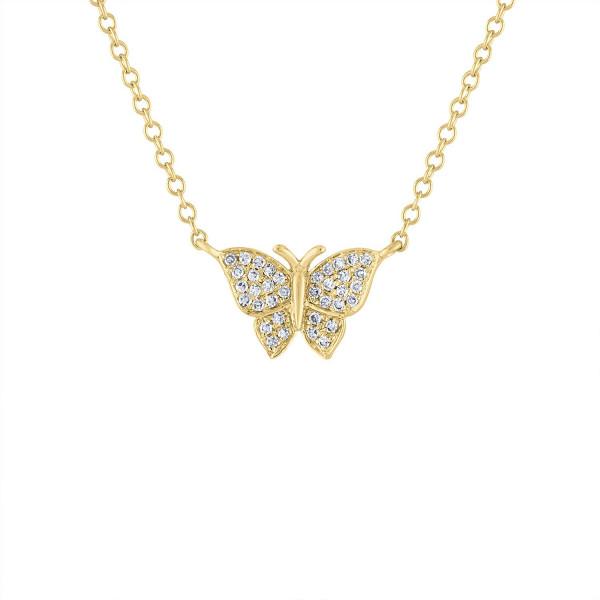 14k Diamond Pave Butterfly Necklace