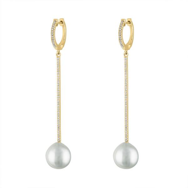 14k Yellow Gold Diamond Pearl  Drop earring