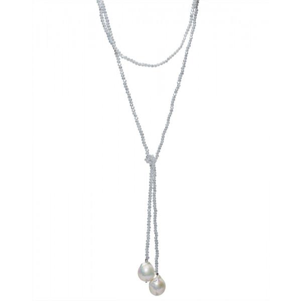 Beaded Light Blue  Crystal Lariat w Baroque Pearls