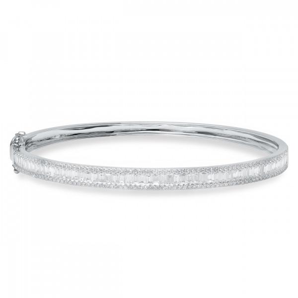 14k Diamond Baguette Bangle Bracelet